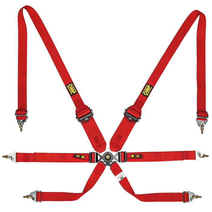 OMP | ONE 3+2 Ultra-Lightweight Endurance Harness Red - Fast Racer