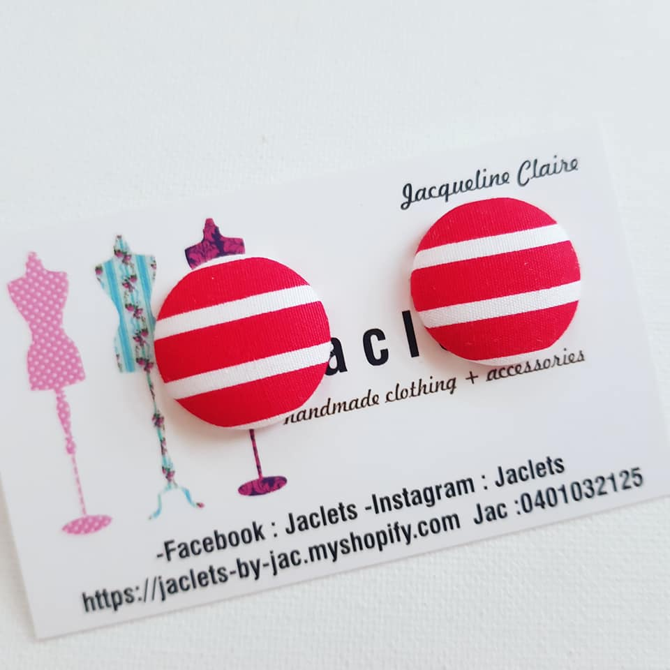 Red + White Stripe Stud Earrings