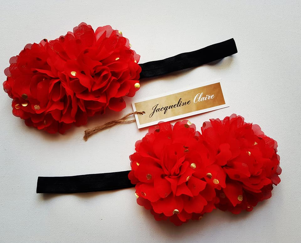 Red + Gold Flower headband
