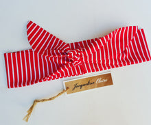 Red + White stripe tie up Headband