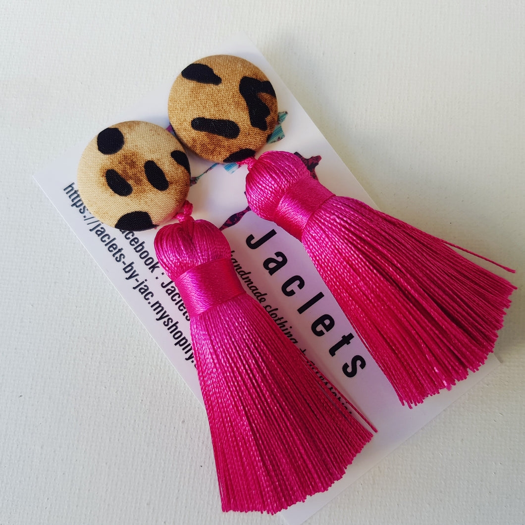 Pink + Leopard Mini Tassel Earrings