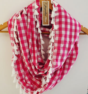 Raspberry Pink + White Gingham Infinity Wrap