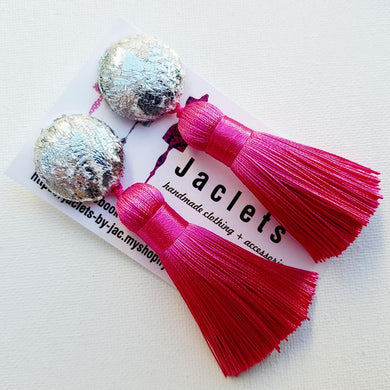 Candy Pink Mini Tassel Earrings