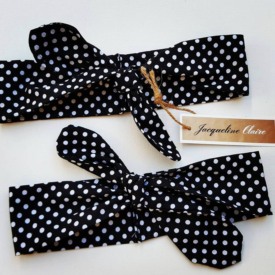 Black + White Polkadot Headband