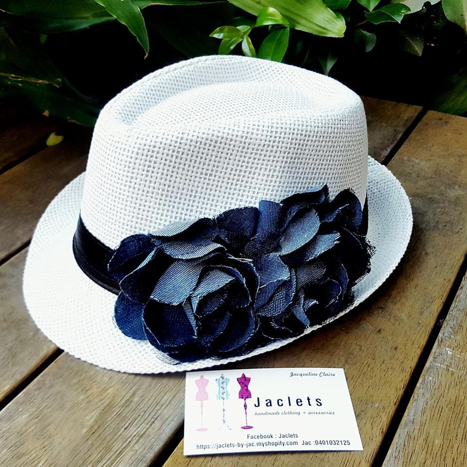 White + Denim Trilby Hat