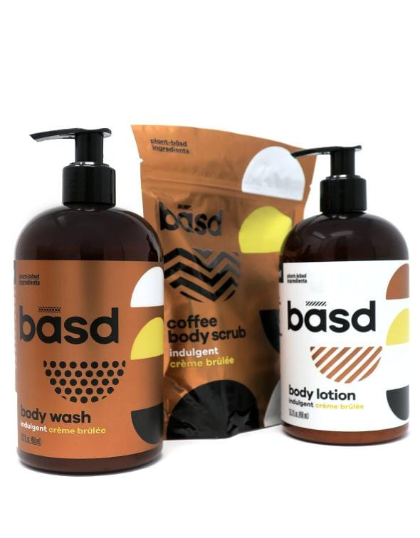 get the whole spa experience at home with basd body care's indulgent creme brulee body wash, lotion and coffee scrub made from organic ingredients that will leave your skin feeling soft and pampered.