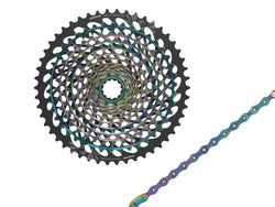 SRAM Eagle XG-1299 rainbow Cassette and Rainbow XX1 Eagle Chain