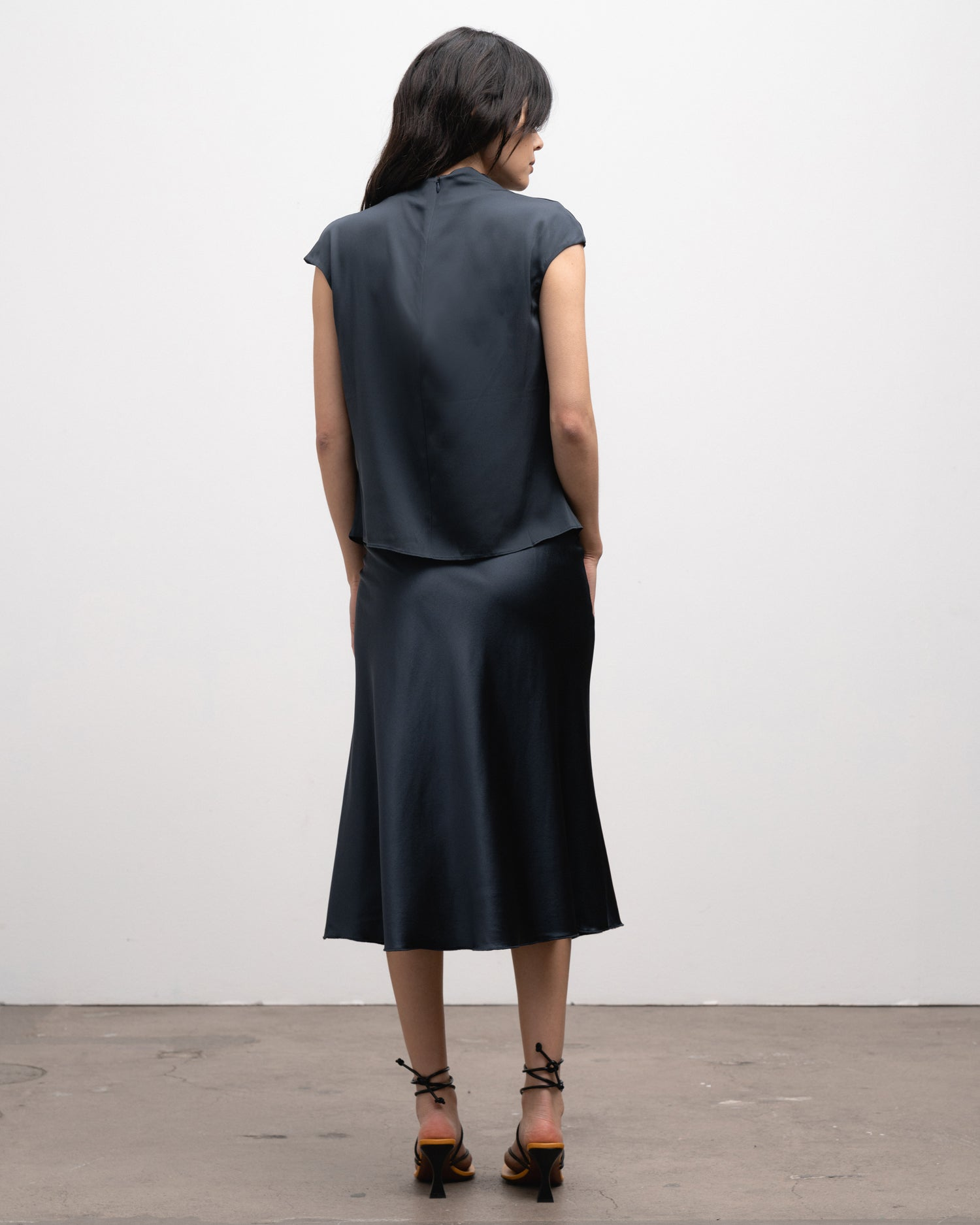 Hana satin skirt blue grey outfit
