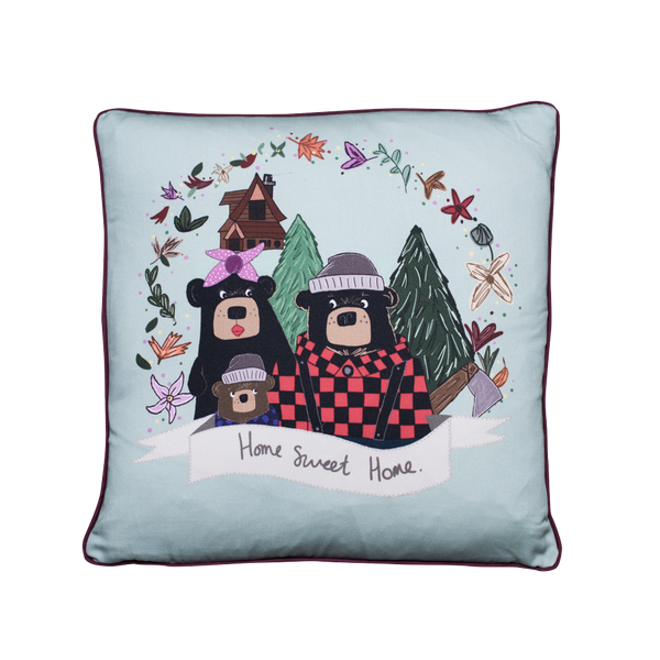 Three Bears New Home Satin Silk Cushion