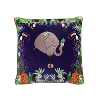 Gorgeous Elephant and Uni-Cycle Velvet Cushion.