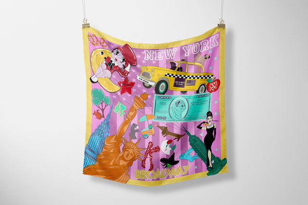 Betty Boo statue of liberty Macy's Chrysler building breakfast at tiffany's pug yellow cab kinky boots wicked the musical phantom of the opera New York scarf silk scarf ladies clothing ladies clothes apparel fashion silk silk scarves
