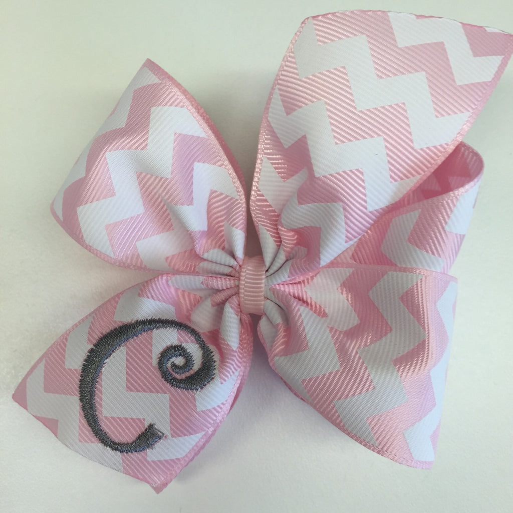 Letter Monogram, Pink Chevron, Hair Bow, Monogrammed Initial, Girls Gift Idea, Custom Boutique, Lettering Stitched, Embroidered, Youth Kids