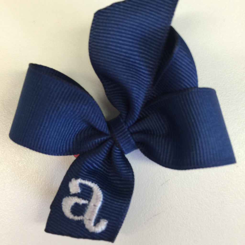 Infant Hair Bow, Monogrammed Initial, navy, Small, Tiny, Personalized Baby Shower Gift, Infant, Toddler, Clippie, Easter