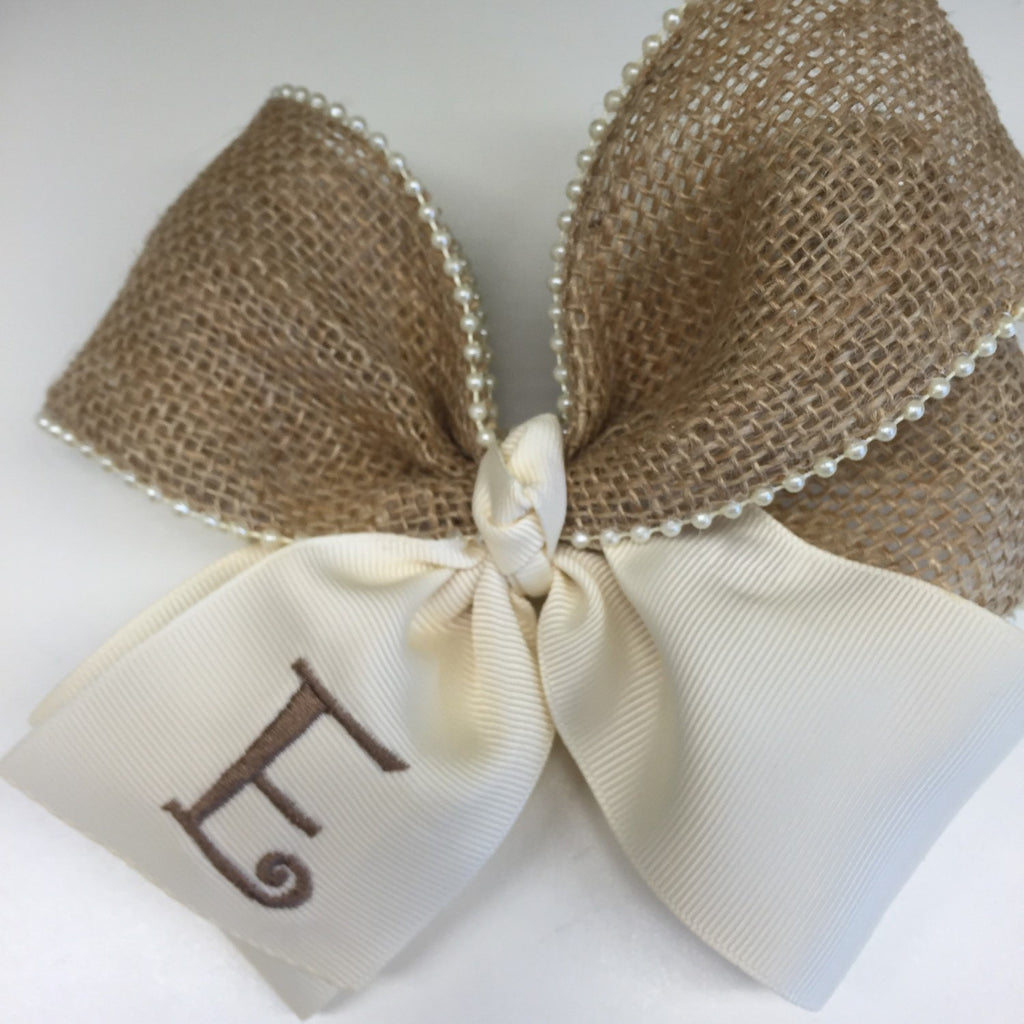 Rustic Initial, Hair Bows, Burlap Monogram Vintage Pearls, Cream Ivory Ecru, Large Hairbow, Barn Wedding Letter, Handmade Flower, Ribbon Tie