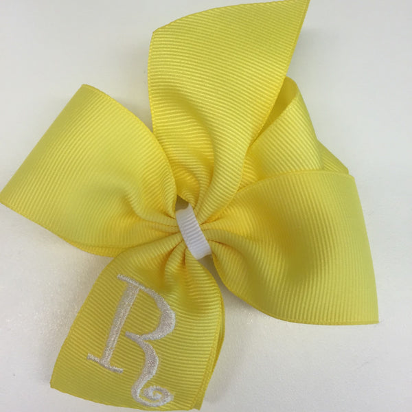 Monogrammed Bow, Custom Baby Hair Bow, Bow with Initial, Yellow Formal Bow, Toddler Bow, Boutique Letter Bow, Embroidered Hair Bow, Easter