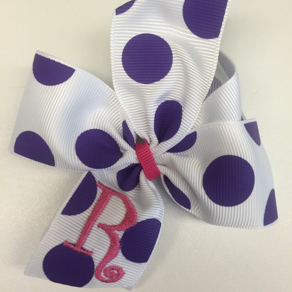 White with Purple Polka Dots Hair Bow