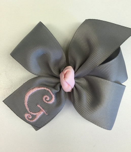 Gray Hair Bow, Monogram Initial, Custom Boutique, Letter hairbow, Girls Grey Pink, Medium Solid, Basic Personalized, Lettering Clip, School