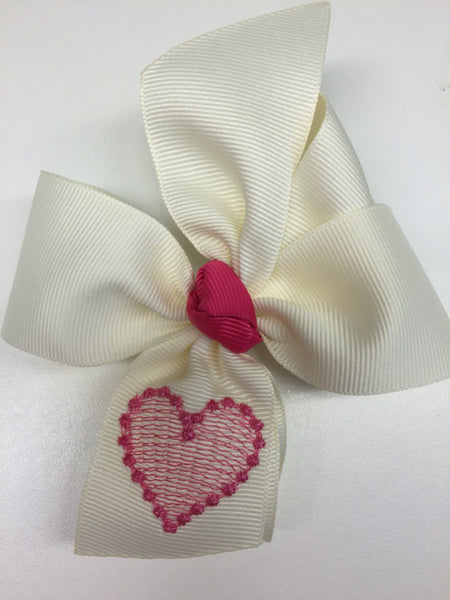 Valentines Day, Heart Hair Bow, Couture Embroider, Girls Red, Love Gift, Hairbow Clip, Barrette Womens, Custom Boutique, Embroidered Initial