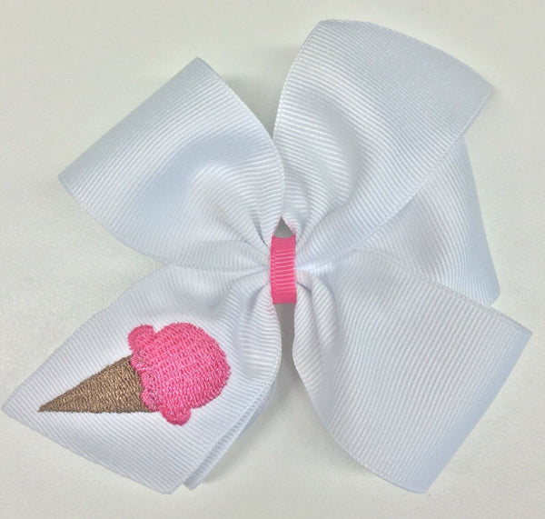 Ice Cream, Hair Bows, Embroidered Girls, Boutique Monogram, Custom Monogrammed, Medium Summer, Hairbow Clip, Ribbon Thread, White Bows, Gift