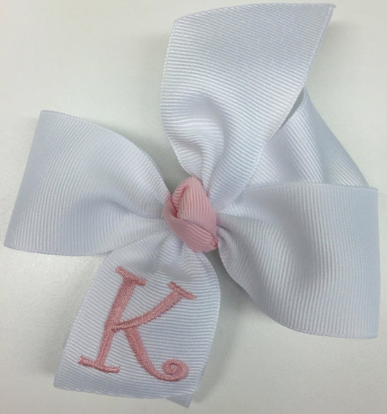 Monogram Hair Bow White Initial Girls Personalized Infant Monogrammed Toddler Spring Easter Basket Babies Size You Choose Initial Hairbows