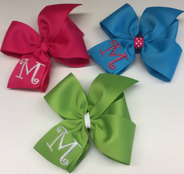 monogrammed hair bows for girls