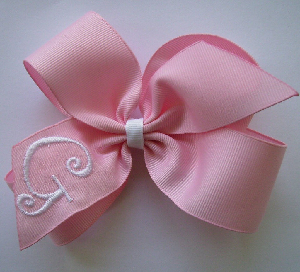 Personalized Pink Custom Boutique Initial Pinwheel Hairbow Gift Infant headband School monogram embroidered baby 4 inch