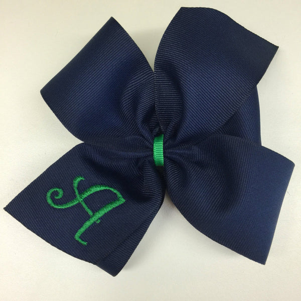 Large Monogrammed, Initial Hair Bows School Uniform Letter Monogram Embroidered Custom Boutique Navy Green Kids Hairbows Wide Big Embroidery