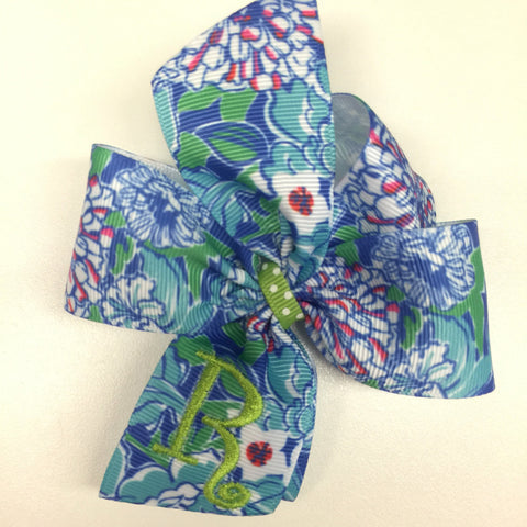 Floral Hair Bows, Any Initial Monogram, Gift Idea, Monogrammed Girls, Embroidered Kids, Letter Hairbows, Custom Boutique, Personalized Baby