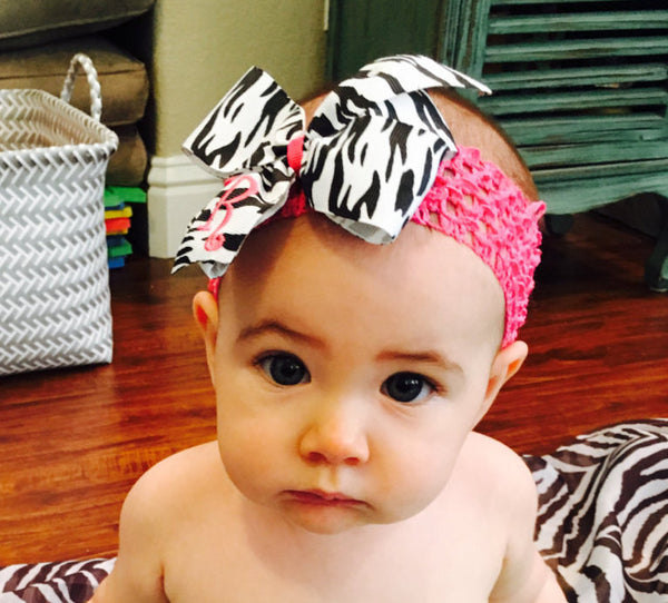 Zebra Monogram Initial, Hair Bows, Custom Boutique, Personalized Letter Girls Headband, Bow Gift Idea, Animal Print, Baby Toddler Medium Zoo