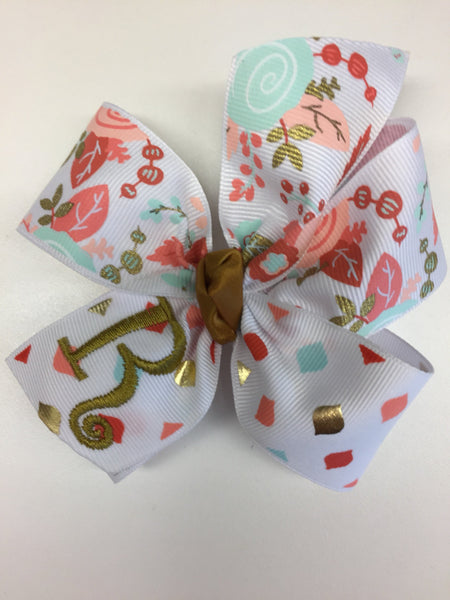 Floral Monogram, Initial Hair Bows, Gold Metallic Aqua, Salmon Hairbow, Personalized Gift, Monogrammed Girls, Medium Size, Embroidered, Mono