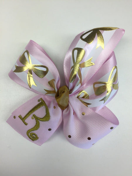 Letter Monogrammed, Initial Hair Bows, Custom Boutique, Customized Gift, Pink Gold Baby, Girls Ribbons, Trendy Hairbows, Initials Medium,