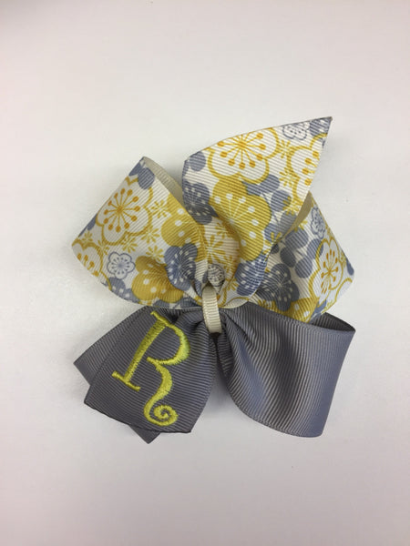 Personalized Initial, Monogram Hair Bow, Gray Yellow, Girls Trendy, Classic Hairbows, Embroidery Letter, Ribbons Retro, Customized Gifts