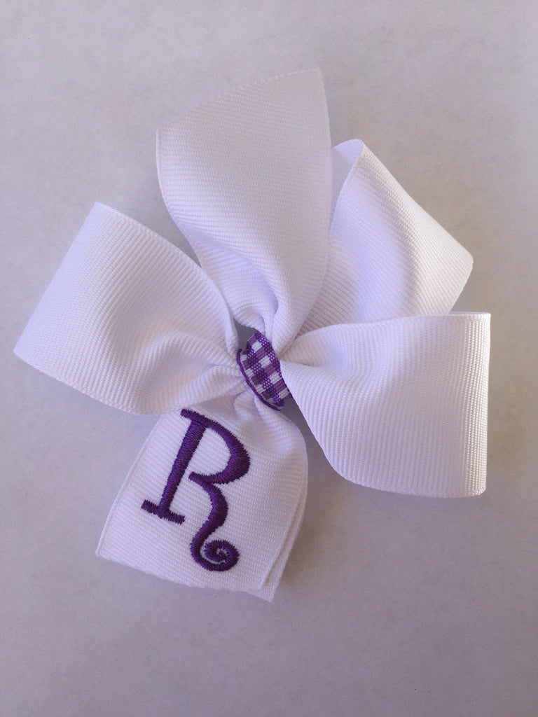 Monogram Any Initial, Hair Bows, Girls Boutique, Embroidered Bow, Hairbows, Purple Easter, Plaid Ribbon, Customized Gift, Monogrammed, Baby