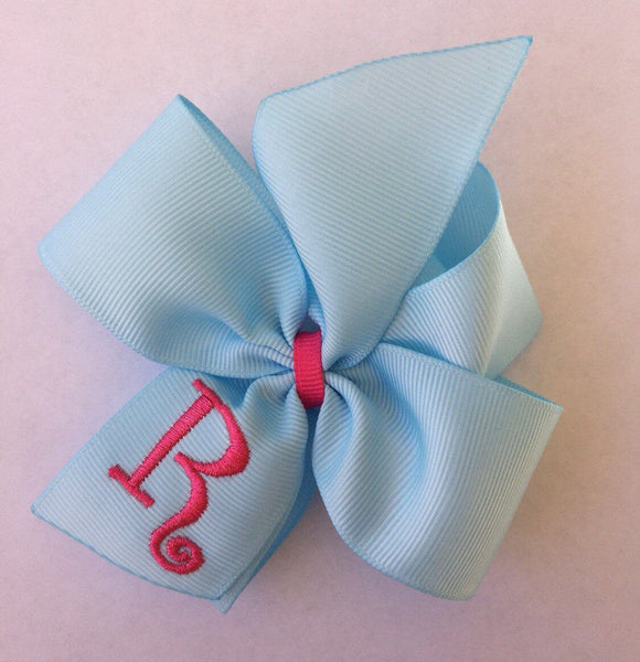 Monogram Initial, Hair Bows, Any Initial, Custom Boutique, Hairbow Girls,Thread Ribbon, Embroidered, Monogrammed Gift, Baby Blue, Pink Gift