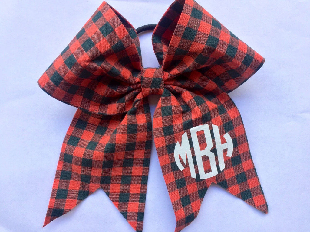 Plaid Monogrammed, Hair Bow, Custom Boutique, Girls Hairbows, Embroidered, Uniforms Tartan, Monogram Initials, Vinyl Lettering, Teen Gifts