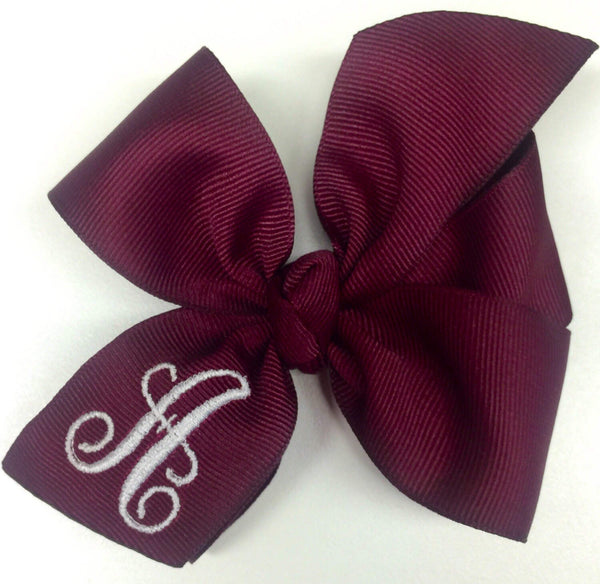 Maroon Uniform, Hairbows Initial, 4 Inch, Monogram Letter, Kids Monogrammed Gift, Wine Burgundy, Personalized Girls, School Formal, Hair Bow