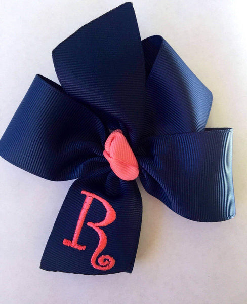 Monogram Initial, Personalized Hairbows, Custom Boutique, Embroidered Letter, Navy Coral, Medium Size, Girls GIft Idea, Preppy Summer,