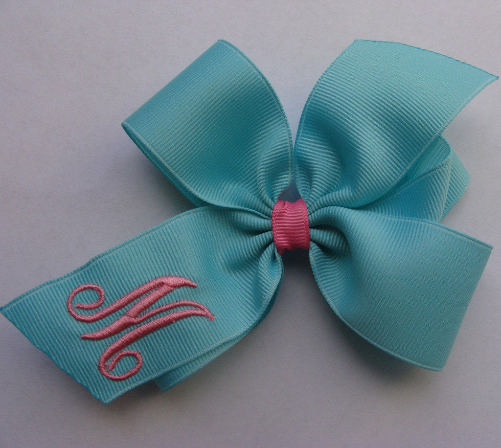 Aqua Hot Pink Monogram Hair Bow