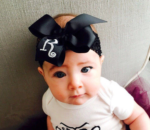 Girls Monogram Bow, Initial Hair Bow, Custom Boutique Clip, Black Hair Bow, Toddler hair Bow, Embroidered Clippie, Monogrammed Gift, HairBow