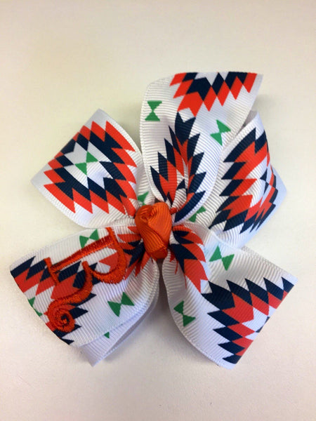 Tribal Monogrammed, Letter Hairbows, Aztec Print Ribbon, Hair Bow, Girls Indian, Embroidered Clips, Kids Trendy, Coral Navy, Southwestern
