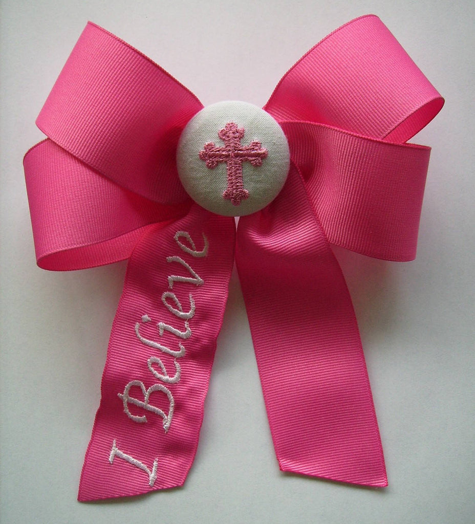 I Believe, Monogram Hairbow, Custom Boutique, Embroidered Gifts, Girls Large Bows, Christian Bow, Baptism Gift, Hair Ribbon, Embroidery