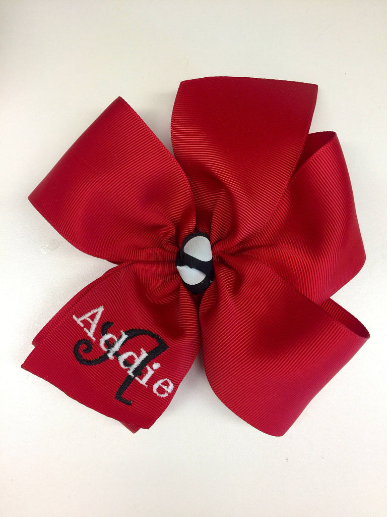 Monogrammed, Name Large, Boutique Hair Bow, Red Unique, Embroidered m2m, Custom Initial, Birthday Gift, Unique, Adult, Kids, Boutique Bows