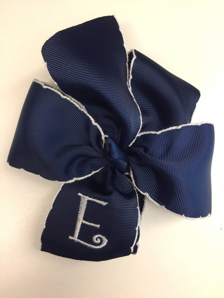 Navy Crochet Initial Bow