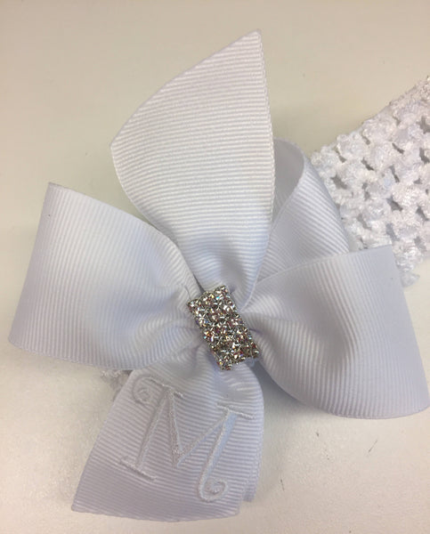 White Monogram, Hair Bow, Rhinestone Bling, Headband, Custom Boutique, Monogrammed Girls, Medium Toddler, Infant Gift Idea, Embroidery Kids
