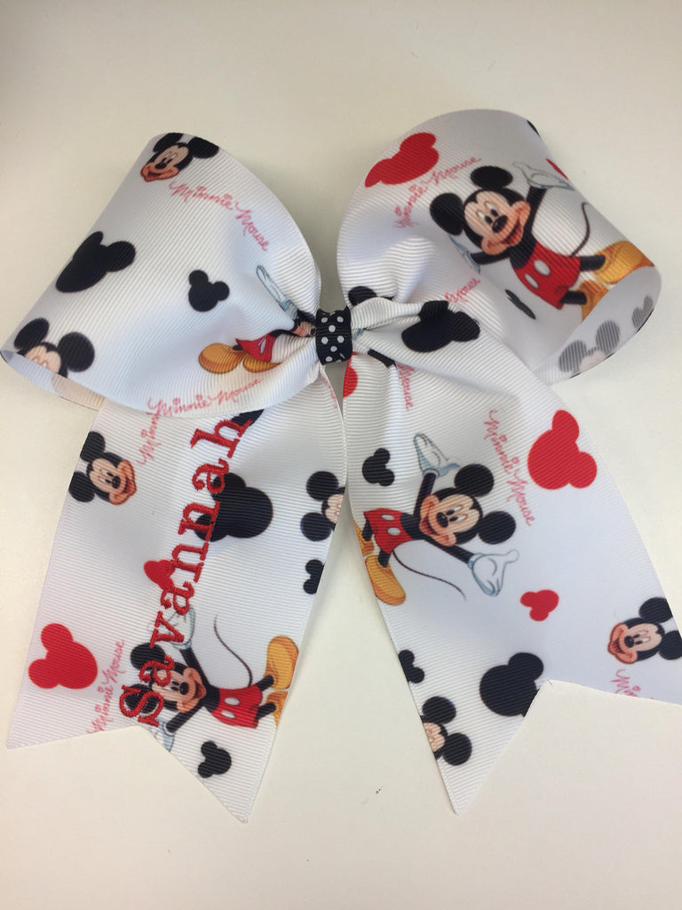Monogram Name, Hair Bow, Mouse Ribbon, Vacation Hairbows, Monogrammed Trip, Embroidered Clip, Lare Mickey, Print Sihouette, Initial Boutique