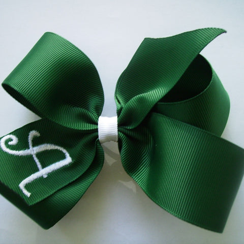 Hunter Green Initial, Hair bows, Monogrammed Letter, Girls Uniform, School Youth, Medium Size, Lands End Embroider Lettering Gift, Boutique