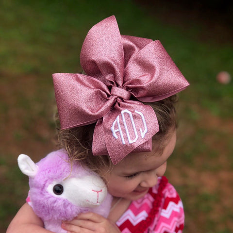 Monogrammed Initials, Rose Gold, Glitter Hair Bow, Hairbows, Large Girls Clip, Sparkly Ribbon, Custom Boutique, Personalized jojo Birthday