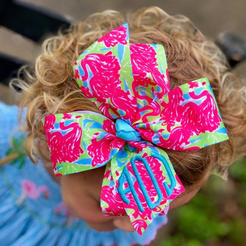 Large Hair Bow, Tropical Ribbon, Monogram Letters, Boutique Girls, Customized Bows, Cruise Beach, Barrettes for toddlers, Unique hairbows