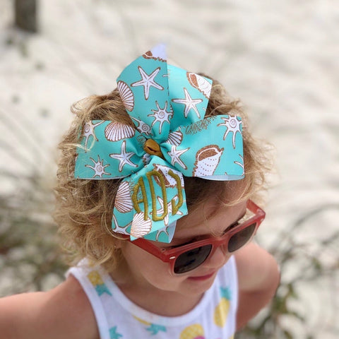 Seashell Monogram Hair Bow, Any 3 initials!  Beach Cruise Clip, Boutique Mono, Scalloped Trendy, Mint Green Gold, Girls simply southern