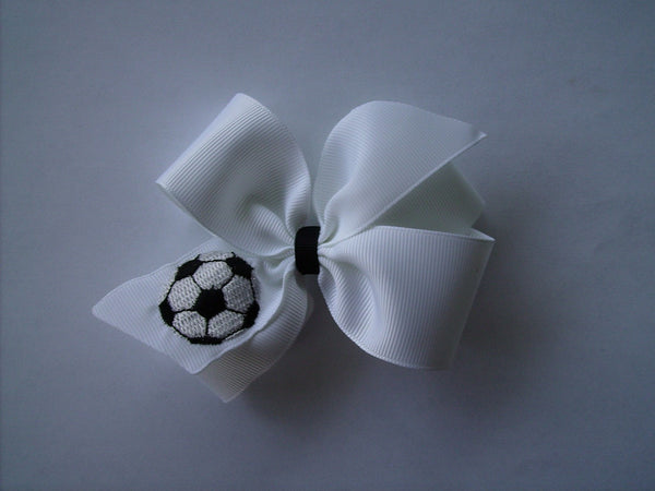 Soccer Hair Bow, Sports HairBow, Girls Ball, Gift Idea, Kids Boutique, Clippie Personalized, Athletic Ribbon, Uniform Monogrammed, Custom